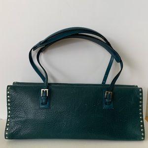 Bally Shoulder Bag: Dark Green/Turquoise Leather